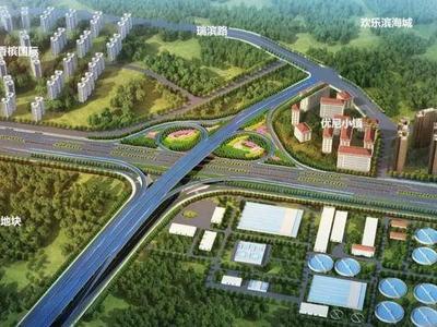 环湾路-长沙路立交桥项目最新进展:施工转为地上,首个墩柱顺利浇筑