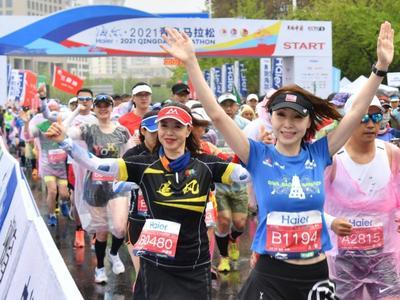 """活力之城,""""青马""""奔腾!海尔·2021青岛马拉松成功举行,赵豪志为赛事开跑发令"""