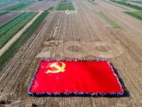 600平方米巨幅党旗在田野展开!100多名驻村第一书记这样为党庆生